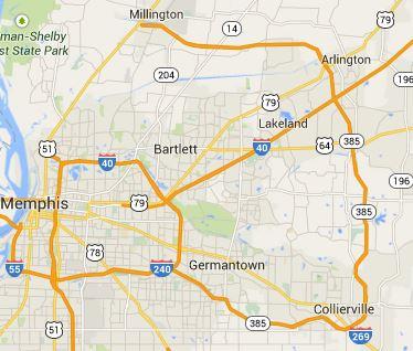 Map of Memphis and lakeland, TN 38002